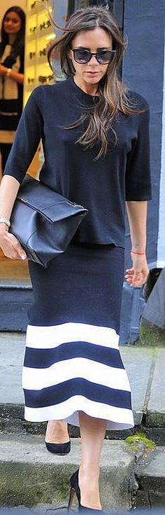 Victoria Beckham's Shoes by Sergio Rossi, Skirt, Purse and Sunglasses Victoria Beckham Collection