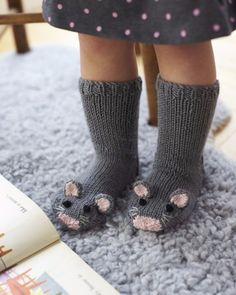 Free Knitting Pattern for Mouse Socks – These adorable mice socks are excerpted from Fiona Goble's Knitted Animal Scarves, Mitts, and Socks. , Free Knitting Pattern for Mouse Socks – These adorable mice socks are excerpted … , DIY's &… Continue Reading → Baby Knitting Patterns, Knitting For Kids, Knitting Socks, Free Knitting, Knitting Projects, Crochet Projects, Crochet Patterns, Vogue Knitting, Knit Socks