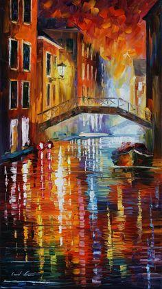 The canals of Venice • artist: Leonid Afremov on deviantart
