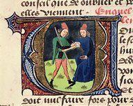 Fol.19r Bloodletting, from 'Traite de Medecine' by Aldebrande de Florence   Creator(s): French School
