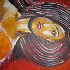 Akryl - Kobieta w kapeluszu Modern Art, Painting, Paintings, Contemporary Art, Draw, Drawings