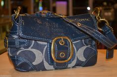 COACH 12535 SIGNATURE BLUE DENIM & LEATHER