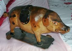 16in long x 9in tall. ext  rare c 1880  PAPER MACHE  PIG on platform original French PULL TOY