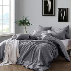 Dress your bed in sophistication with the Swift Home Prewashed Yarn-Dyed Duvet Cover Set. Yarn-dyed for a cozy, lived-in look and feel, the beautiful bedding brings an effortless touch of understated luxury to your bedroom& décor. King Duvet Cover Sets, Bed Duvet Covers, Duvet Sets, Cotton Duvet Covers, Ikea Duvet Cover, Pillow Shams, Luxury Bedding Sets, Duvet Bedding, King Comforter