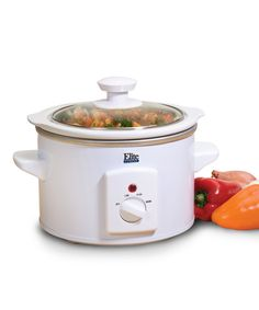 Elite Cuisine White 1.5-Qt. Slow Cooker | zulily -  $14.99 $20.00 Product Description:  Cooking at home made easy. This electric slow cooker holds 1.5 quarts and can be programmed to prepare a variety of delicious meals while you're away from home.      7.4'' H x 8.75'' diameter     Aluminum     Hand wash     Imported