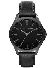 A|X Armani Exchange Men's Black Leather Strap Watch 45mm AX2148