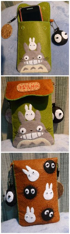 cute cell carrying case made of felt and seed beads