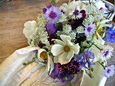 Pretty cornflower and cosmos bouquet for Summer wedding by www.flowersfromtheplot.co.uk