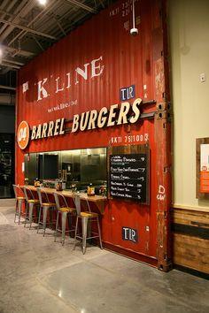 De Interiores De Cafeterias, Restaurantes, Bares e também Food Truck. Burger Restaurant, Burger Bar, Restaurant Design, Restaurant Kitchen, Container Shop, Container Design, Cafe Bar, Bar Deco, Food Truck Design