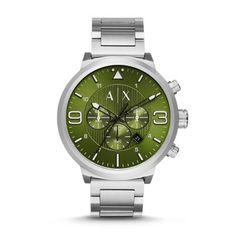 9188468a2eb ATLC Watch A pinstriped olive green sunray dial with black and white  accents gives an urban feel to this stainless steel men s Armani Exchange  watch.
