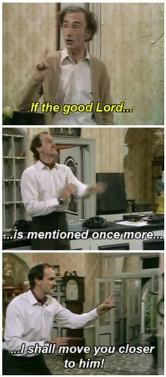 David Kelly as 'O'Reilly' and John Cleese as Basil Fawlty in the 'The Builders' episode of 'Fawlty Towers', -Watch Free Latest Movies Online on British Tv Comedies, Classic Comedies, British Comedy, English Comedy, Monty Python, Funny Quotes, Funny Memes, Hilarious, Silly Jokes