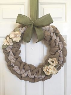 Burlap Wreath with Lace Cream Flowers and Moss by BellevueCreek