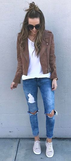 trendy street style outfit: jacket + top + rips