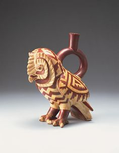 Moche ceramic in the form of a owl. South American Art, Native American Art, Ceramic Birds, Ceramic Animals, Pottery Sculpture, Bird Sculpture, Peruvian Art, Mesoamerican, Inca