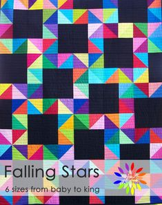 Falling Stars Quilt Pattern PDF in 6 Sizes from Baby to King-Easy Quilt Patterns-Baby Quilt Patterns-Myra Barnes of Busy Hands Quilts Amish Quilts, Star Quilts, Easy Quilts, Quilt Blocks, Scrappy Quilts, Star Blocks, Half Square Triangle Quilts Pattern, Hexagon Quilt, Square Patterns