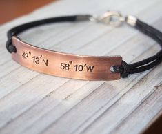 Custom His and Her Bracelets Personalized Gift for Couple Long Distance Engraved Copper Coordinates Bracelets Girlfriend Boyfriend Gift
