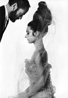 "Audrey Hepburn and husband Mel Ferrer by Bert Stern for a 1963 Vogue fashion editorial: ""The Givenchy Idea""."