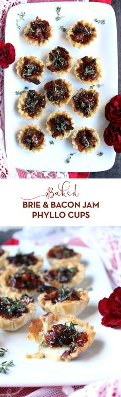 The BEST appetizer for the holiday season, these Baked Brie & Bacon  Jam Phyllo Cups are a guaranteed crowd pleaser! Now with an  easy-to-follow video recipe. #appetizer #holidayapp #brie #bacon #cheese #holiday