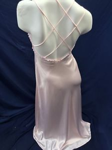 a9a495ef10 (S) Jessica Lynn Collection Pink Satin Lace Embroidery Long Nightgown NWOT