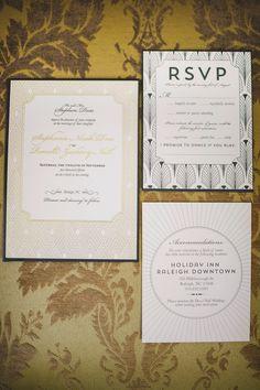 Glamorous Art Deco Wedding Inspiration in Decadent Black and Gold Art Deco Wedding Inspiration, Wedding Invitation Inspiration, Art Deco Wedding Invitations, Wedding Stationary, 1920s Wedding, Our Wedding, Wedding Ideas, Raleigh Downtown, Autumn Wedding