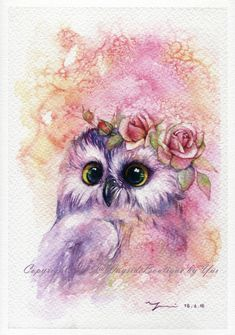 PRINT  Sweetie Owl Watercolor painting 7.5 x 11 by WaysideBoutique
