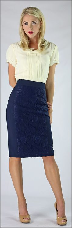 Navy Lace Panel Skirt
