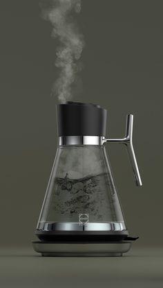 Elevated Glass Kettle on Behance Küchen Design, Design Trends, Industrial Design Sketch, Cafetiere, Minimal Design, Kitchen Utensils, Autocad, Tea Pots, Product Design