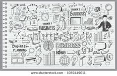 Business Idea doodles icons set. Vector illustration. isolated on white background.