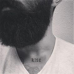 Chris John Millington - rise tattoo close up full thick dark beard beards bearded man men tattooed tattoos neck throat