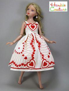 "OOAK Valentine's Fits 16"" Ellowyne Wilde Doll Dress by Hankie Couture Vintage | eBay"