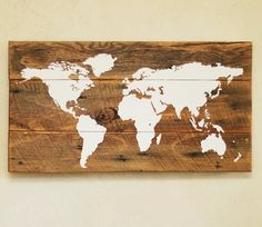 This world map would be right at home with any travel lover - great for marking where you have been! Vinyl map is sealed onto a rustic barn wood