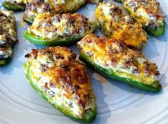 Stuffed Jalapenos Recipe (this has sausage, but think that next time I'll substitute bacon). This is easier than wrapping jalapenos.