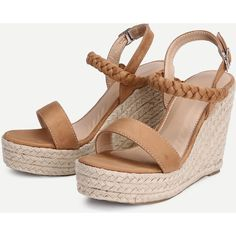 SheIn(sheinside) Woven Detail Strappy Wedge Sandals ($33) ❤ liked on Polyvore featuring shoes, sandals, high heel wedge sandals, brown sandals, peep toe wedge sandals, platform espadrille sandals and wedge sandals