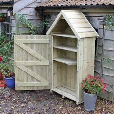 The Sentry Box Garden Store is a wide and tall Timber Garden Store for narrow outdoor spaces. Tall enough for most garden tools and comes with two shelves. Garden Power Tools, Garden Tool Shed, Garden Storage Shed, Garden Boxes, Shed Design, Garden Design, Back Gardens, Outdoor Gardens, Cottage Exterior