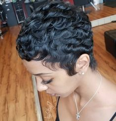 Short Curly Black Cut - 50 Most Captivating African American Short Hairstyles and Haircuts - The Trending Hairstyle - Page 30 Short Pixie Haircuts, Pixie Hairstyles, Braided Hairstyles, Black Girl Short Hairstyles, Fancy Hairstyles, Black Pixie Haircut, 27 Piece Hairstyles, Short Relaxed Hairstyles, Drawing Hairstyles