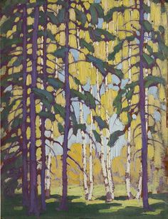 "Lawren Harris - Canada / Group of Seven - ""Snow on Trees"", oil on canvas, x 59 'Algonquin Birches' Group Of Seven Artists, Group Of Seven Paintings, Canadian Painters, Canadian Artists, Abstract Landscape, Landscape Paintings, Tom Thomson Paintings, Amazing Art, Tree Tree"