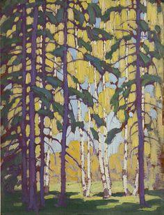 Lawren Harris (Canada;1885-1970), Algonquin Birches, ca 1914, oil on board, 14 x 10.75 in