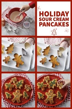 No holiday breakfast is complete without these playful pancakes! Note: Use tongs to flip cookie cutter pancakes so you don't burn your fingers. Christmas Brunch, Christmas Breakfast, Christmas Morning, Christmas Goodies, Christmas Candy, Christmas Desserts, Christmas Treats, Christmas Baking, Holiday Treats