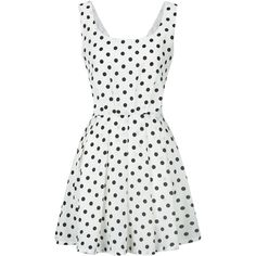 White Polka Dot Bow Back Vest Skater Dress ($21) ❤ liked on Polyvore featuring dresses, white day dress, flared dresses, white skater dress, flare skater dress and white dresses