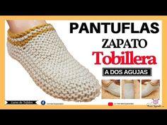 Tejiendo Pantuflas o Zapato Tobillero a Dos Agujas Booties Crochet, Crochet Shoes, Crochet Slippers, Crochet Scarves, Crochet Baby, Knit Crochet, Crochet Bikini, Crochet Slipper Pattern, Knit Shoes