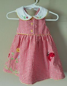 NWT Youngland girls 6-9 months 2 piece dress & diaper cover red check Easter #Youngland #CasualPartyHoliday