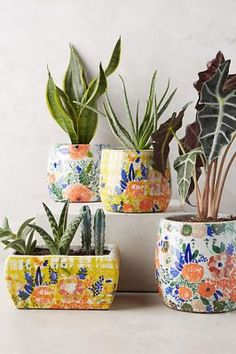 Fabric Covered Watercolor Planters