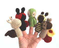summer finger puppet crocheted bee ladybug snail by crochAndi, $34.00