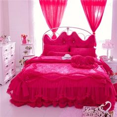 llwannr Sheets Summer and Autumn Section 4 Pcs King Queen Twin Size Whte Lace Cotton Luxury Wedding Princess Bedding Set Bed Skirt Duvet Cover Set Soft Bedclothes White Duvet Covers, Bed Duvet Covers, Duvet Cover Sets, Girls Comforter Sets, Duvet Bedding Sets, King Size Bed Sheets, Bedclothes, Pink Bedrooms, Textiles