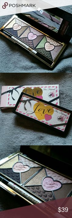 Too Faced Love Palette An eyeshadow palette inspired by handwritten love letters. Includes 15 different shades and a full size Love Eyeliner in black. Never used, 100% authentic. Too Faced Makeup Eyeshadow
