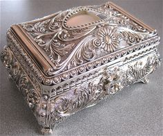 antique silver plated jewellery box,