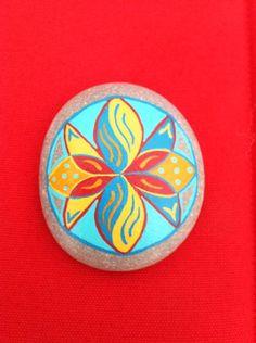 Hand Painted stone or rock Mandala