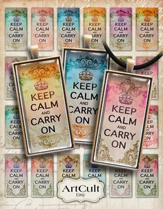 KEEP CALM and CARRY On  1x2 inch Digital Collage Sheet by ArtCult, $4.60