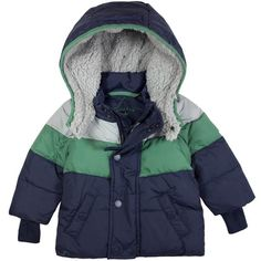 Our latest down coat for boys shown here in navy with contrast grey and green detailing.  Fully detachable hood and arm. The ultimate in warm yet smart and practica