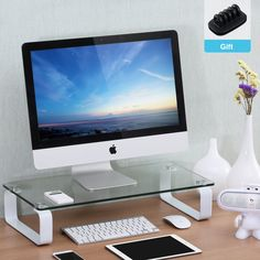 Fitueyes 23.6x11x4.7-Inch Tempered Glass Computer Monitor Riser, White (DT106004GW). Accommodates monitors, laptops, printers, and fax machines. [Approx. Dimension: 23.6*11*4.9in. Assembly needed. ]. 8mm Clear tempered glass and gloss white painting panel ,Weight capacity for shelf :110lbs. The laptop stand is also a great desk accessory to enhance the visual organization of your desk; simple and slim design fits perfectly into any decor, adds an elegant look to your desktop or work area....